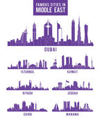 Set of Cities in Middle East Famous Buildings — Stock Vector