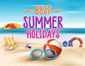 Summer Holidays in Beach Seashore — Stock Vector