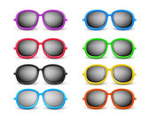 Set of Realistic Colorful Unisex Sunglasses — Stock Vector