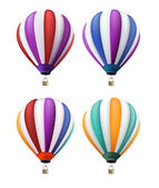 Set of Realistic Colorful Hot Air Balloons Flying — Stock Vector