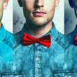 Half-face emotion portrait concept. Young and handsome hipster m — Stock Photo #54071143