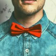 Half-face fashion portrait concept. Young and handsome hipster m — Stock Photo #54071261