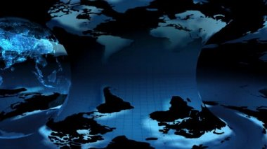 Earth map rotated (loop) — Stock Video