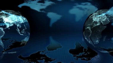 Earth globe rotated on a earth map background (loop) — Stock Video