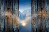 Cross on the wood wall and hope sunbeam — Stock Photo