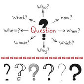 Question marks and words — Stock Vector