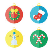 Set of Christmas icons, flat icons — Stock Vector