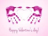 Feliz día de San Valentín tarjeta con acuarelas impresiones de palmas rosadas. — Vector de stock