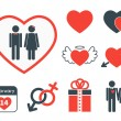 Set of icons on the theme of love and Valentines day — Stock Vector #70818023