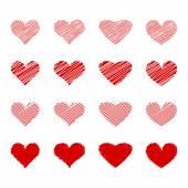 El kümesi çizgili kalpler çizilmiş — Stok Vektör