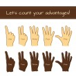 Set of isolated sketches of Caucasian and Afro-American hands with count from 1 to 5. — Stock Vector #71368191