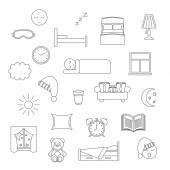 Sleep thin lined icon. — Stockvektor