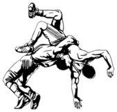 Greco-Roman wrestling — Vettoriale Stock