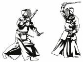 Kendo fight — Vector de stock
