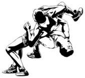 Two men wrestling — Stock Vector