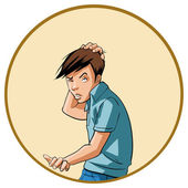 Young man scratching his head — Stock Vector