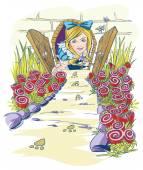 Alice in wonderland — Stock Vector