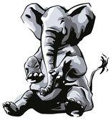 Elephant sitting — Stock Vector