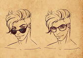Sketch characters in glasses — Stockvektor