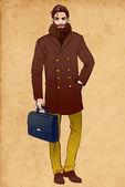 Bearded man in a coat — Stock Vector