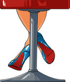 Woman legs staying on a bar chair — Stock Vector