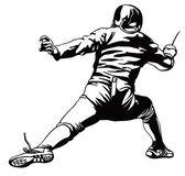 Fencing attacking man — Vector de stock