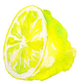 Watercolor half of lemon — Stok Vektör