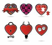 Six creative hearts — Stock Vector