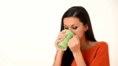Women drink hot coffe — Stock Video
