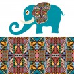 Cartoon elephant with tribal ethnic ornament geometric seamless pattern — Stock Vector #73143237