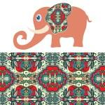 Cartoon elephant with tribal ethnic ornament geometric seamless pattern — Stock Vector #73143241