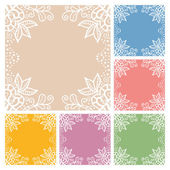 Wedding invitation or greeting cards collection design with lace pattern, ornamental vector illustration — Stock Vector
