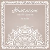 Lace Invitation Card, floral and geometric background — Stock Vector