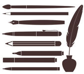 Pencil. Pen. Brush. Felt Pen. Feather — Stock Vector