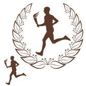 Running. Marathon — Stock Vector