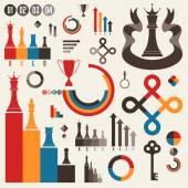 Vintage. Set of infographics elements — Stock Vector