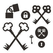 Key. Lock. Icon set — Stock Vector