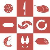 Meat. Icon Set — Stock Vector