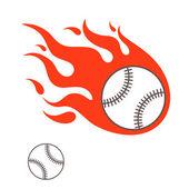 Burning baseball ball — Stock Vector