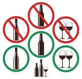 Set of no alcohol signs — Vector de stock