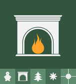 Fireplace and christmas icons — Stockvektor