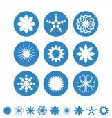 снежинки значки — Cтоковый вектор