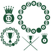 Billiards symbols — Stock Vector