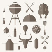 Barbecue grill Icon set — Stock Vector