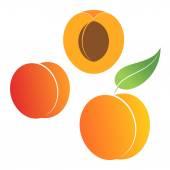 Peach icons Set — Stock Vector