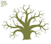 Oak tree silhouette — Stock Vector