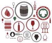Wine labels icon set — Stock Vector