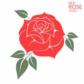 Flat Red rose — Stock Vector