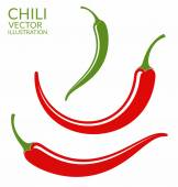 Chili Peppers red and green — Stock Vector