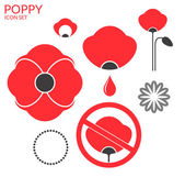 Poppy. Icon set — Stock Vector